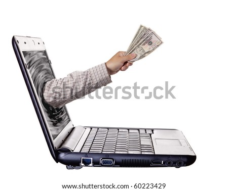 Getting money from laptop monitor screen - Online Transaction, Online Banking theme. Isolated on white - stock photo