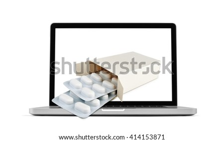Getting pharmacy medicine from laptop monitor screen - Online Transaction, Online therapy theme. - stock photo