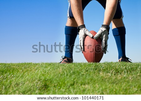 Getting Ready for Football Kickoff - stock photo