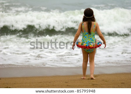 Getting ready to take a dip - stock photo