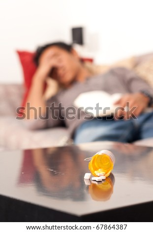 Getting Some Help Sleeping with Sleeping Aid - stock photo