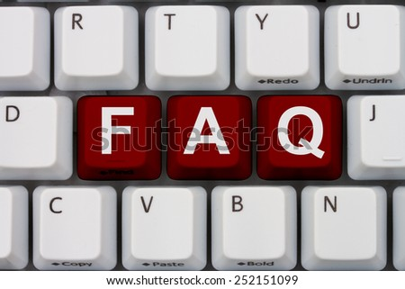 Getting the FAQs online, A gray computer keyboard with the word FAQ in red letters - stock photo