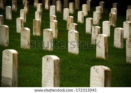 Gettysburg Cemetery Headstones. Headstones of soldiers from American military at the site of the American Civil War at Gettysburg, Pennsylvania, United States. - stock photo