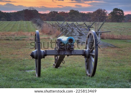 GETTYSBURG, PA - OCT 18: Artillery near a fence line on the morning of Oct 18, 2014 in Gettysburg, Pennsylvania. - stock photo