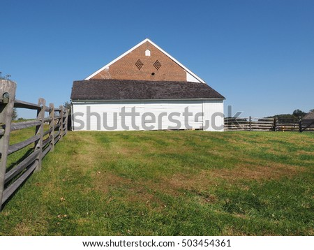Gettysburg, PA, USA - October 15, 2106:  barn on the Trostle farm showing the shell in the brick
