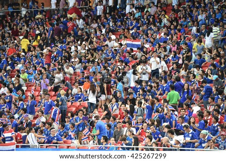 GEYLANG-SINGAPORE-13JUN,2015:Unidentified fans of Thailand suppo