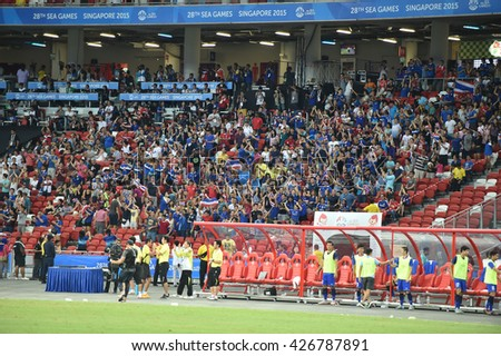 GEYLANG-SINGAPORE-13JUN,2015:Unidentified fans of Thailand supporters during match between Thailand against indonesia,28th SEAgames 2015 at national stadium singapore on june13-2015