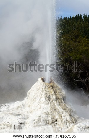Geyser at Waiotapu Thermal Wonderland in New Zealand - stock photo