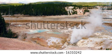 Geyser Basin at Yellowstone - stock photo