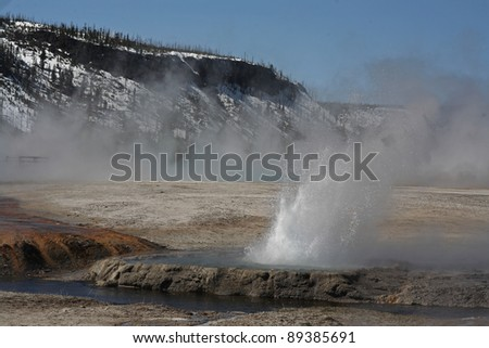 Geyser errupts on a spring afternoon in the Upper Geyser Basin. Yellowstone National Park, Wyoming