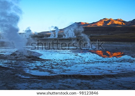 Geyser field El Tatio in Atacama region, Chile - stock photo