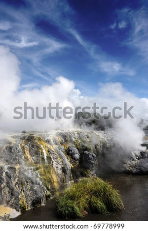 Geyser in New Zealand - stock photo