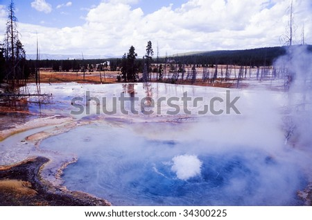 Geyser in Yellowstone national park - stock photo