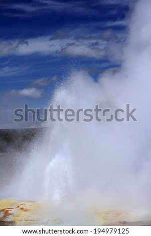 Geyser with lovely surroundings at Yellowstone national park, USA - stock photo