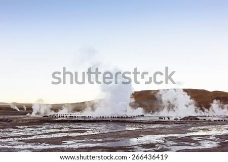 Geysers of Atacama, Chile. - stock photo
