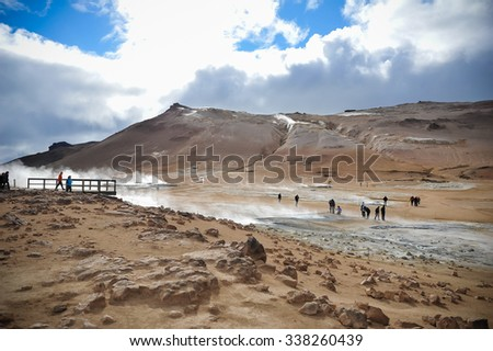 Geysir valley in Iceland - stock photo
