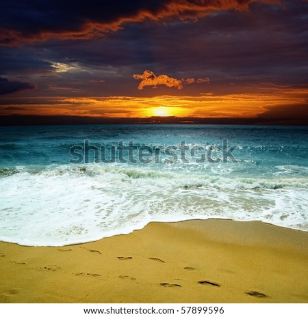 Ggorgeous sea at the sunset. - stock photo