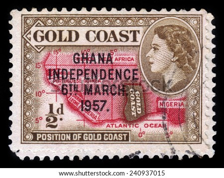 GHANA - CIRCA 1957: A stamp printed in Ghana shows location of the country on the African continent and queen Elizabeth II, stamp of Gold Coast overprinted in black, Ghana Independence, circa 1957 - stock photo
