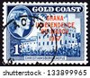 GHANA - CIRCA 1957: a stamp printed in Ghana shows Stamp of Gold Coast Overprinted in Red, Ghana Independence, Christiansborg Castle, circa 1957 - stock photo