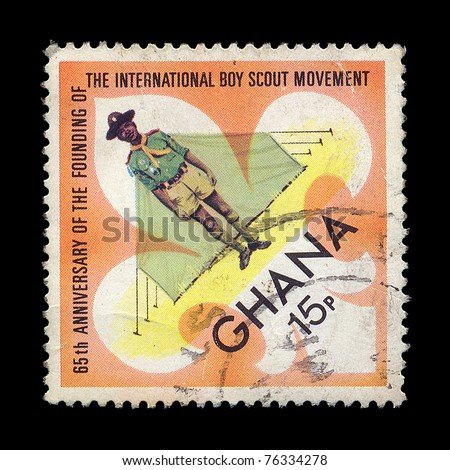 GHANA - CIRCA 1972. Vintage postage stamp printed printed in Ghana for the 65th anniversary of the founding of the international boy scout movement, circa 1972.