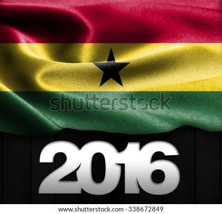 Ghana Flag & Happy New Year 2016 typography on wood texture background  - stock photo