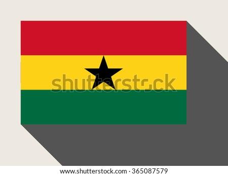 Ghana flag in flat web design style. - stock photo
