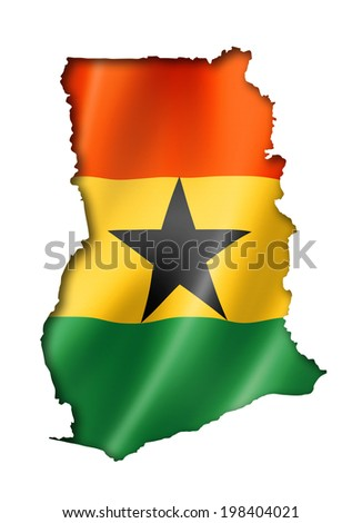 Ghana flag map, three dimensional render, isolated on white - stock photo