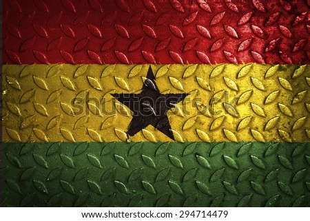 ghana flag,metal texture - stock photo