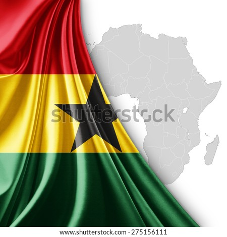Ghana flag of silk with Africa map and white background - stock photo