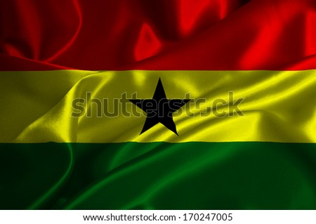 Ghana flag on satin texture. - stock photo