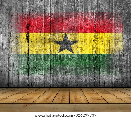 Ghana flag painted on background texture gray concrete with wooden floor - stock photo
