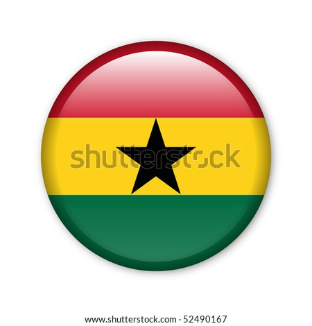 Ghana - glossy button with flag - stock photo