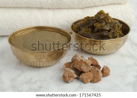 Ghassoul, savon Beldi and Henna in the Hammam - stock photo