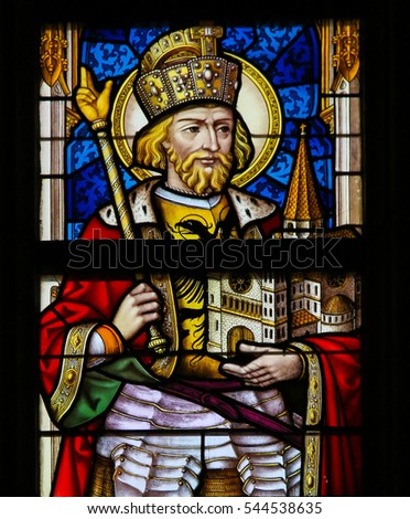 GHENT, BELGIUM - DECEMBER 23, 2016: Stained Glass depicting Wenceslaus I, Duke of Bohemia, in the Cathedral of Saint Bavo in Ghent, Flanders, Belgium.
