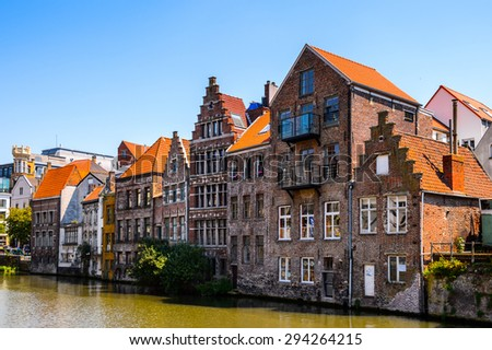 GHENT, BELGIUM  - JUN 5, 2015: Architecture the Leie rivee in  the historic part of Ghent, Belgium. Ghent is the capital and largest city of the East Flanders province
