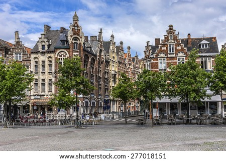 GHENT, BELGIUM - MAY 12, 2014: View of Ghent city center. Ghent is a city and a municipality located in the Flemish region of Belgium, capital and largest city of the East Flanders province. - stock photo