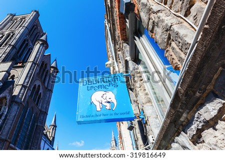 GHENT, BELGIUM - SEPTEMBER 02, 2015: signboard of Delirium Tremens Beer. 1998 won it on the World Beer Chamionship in Chicago the price of the best beer of the world, brewed by brewery Hyughe - stock photo