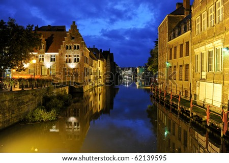 Ghent by night - stock photo
