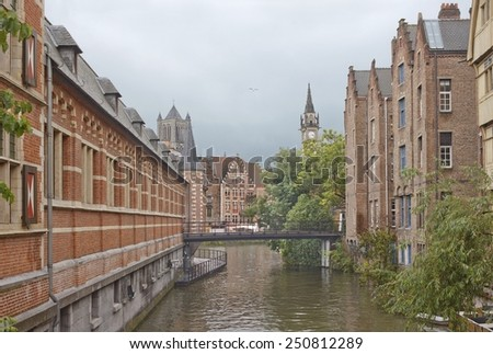 Ghent summer landscape with canal