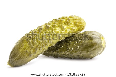 Gherkin (Pickles) isolated on white background - stock photo