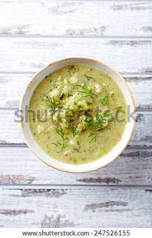 Gherkin soup with sour cream and fresh dill (Poland) - stock photo