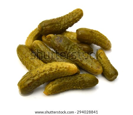 Gherkins on a white background - stock photo