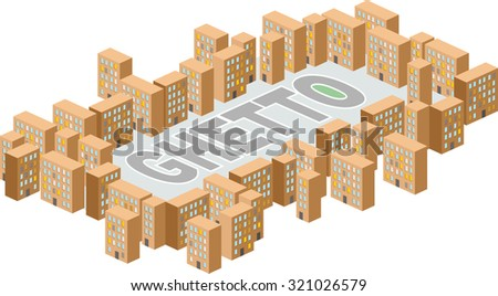 Ghetto district. Building in form of letters. Poor district on outskirts  - stock photo