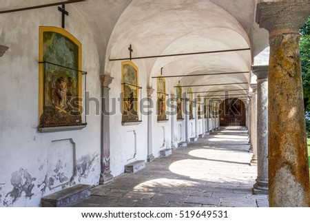 Ghiffa, Italy - 3 September 2016: The sanctuary of Ghiffa on Italy, Unesco heritage