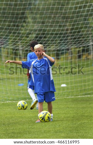 GHIMBAV, BRASOV, ROMANIA - AGUST 3: Soccer football training camp for kids, children at FOREX GHIMBAV, Romania 03 august 2016
