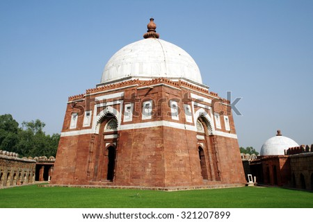 Ghiyas ud-Din Tughlaqâ??s Tomb in New Delhi. Ghiyas ud-Din Tughlaq was the ruler of the Sultanate of Delhi during 1320-25. - stock photo