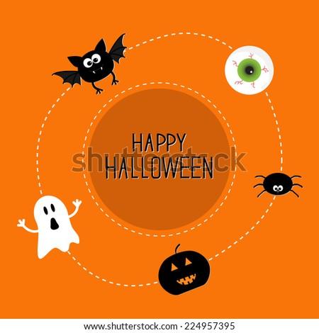 Ghost, bat, spider, eye, pumpkin. Happy Halloween set. Card in flat design style.  - stock photo