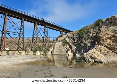 Ghost Bridge at Gaviota State Park - stock photo