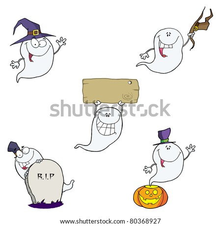 Ghost Cartoon Characters-Raster Collection.Vector version is also available - stock photo