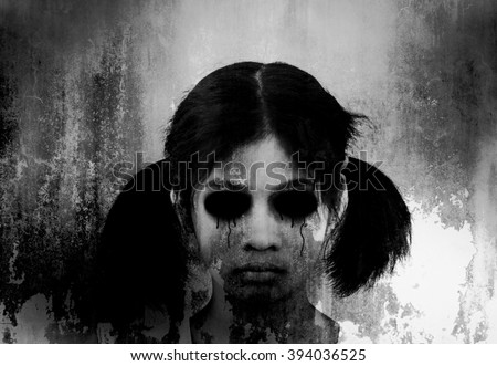Ghost girl,,Horror background for halloween concept and book cover ideas  - stock photo